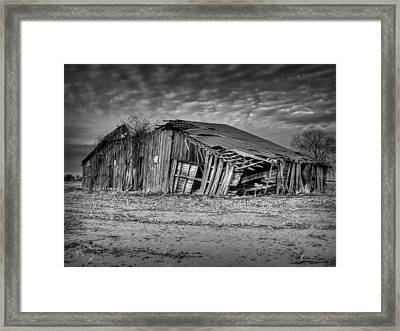 Blighted Barn 001 Bw Framed Print