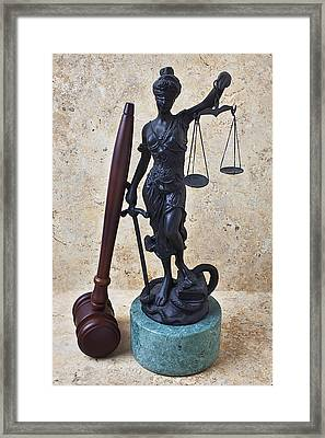 Blind Justice Statue With Gavel Framed Print by Garry Gay