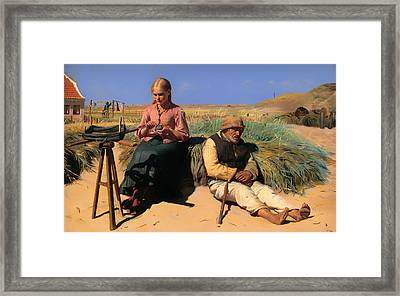 Blind Kristian And Tine Among The Dunes Framed Print by Mountain Dreams