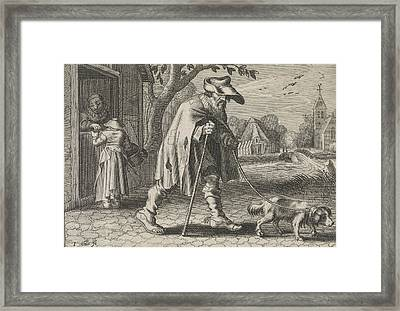 Blind Man Led By A Dog, Woman Before The Door Of Her House Framed Print by Johann Gelle