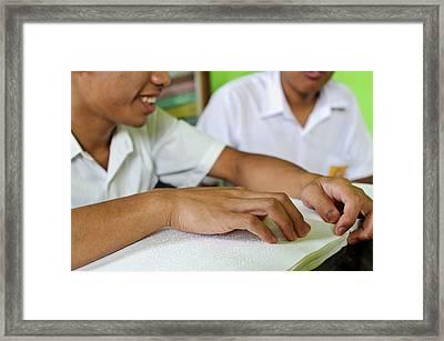 Blind Students Reading Braille Framed Print