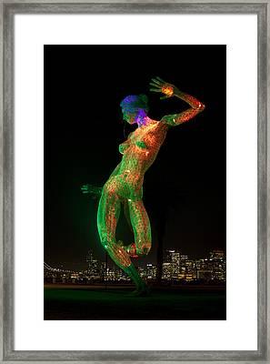 Bliss Dance In Green And Orange Framed Print