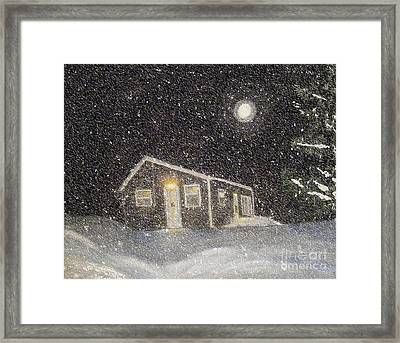 Blizzard At The Cabin Framed Print by Barbara Griffin