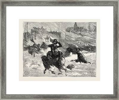 Blizzard In New York, The Perils Of Union Square Framed Print by American School
