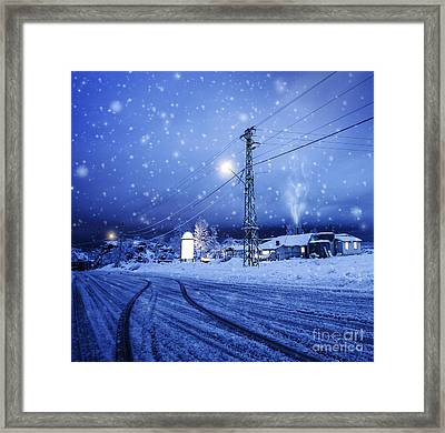 Blizzard In The Village Framed Print by Anna Om