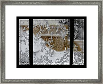 Blizzard Triptych - Snow Storm - Abstract Snow Pattern  Framed Print by Barbara Griffin