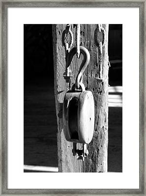 Block And Tackle 3 Bw Framed Print by Mary Bedy