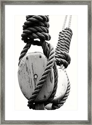 Block And Tackle Of Old Sailing Ship Framed Print