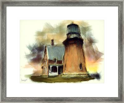 Block Island Light Framed Print by Lourry Legarde