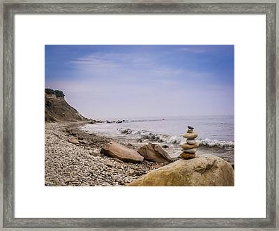 Block Island Rocky Shore Framed Print by Dawn Romine