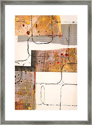 Blocks Abstract Mixed Media Collage Framed Print by Nancy Merkle