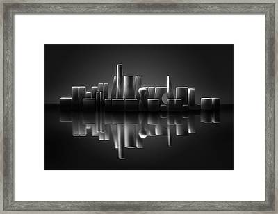 Blockville On The Lake Framed Print