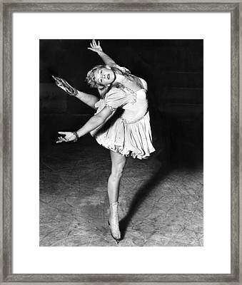 Blond Ballerina Of The Rinks Framed Print by Underwood Archives