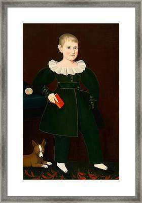 Blond Boy With Primer Peach And Dog Framed Print by Ammi Phillips