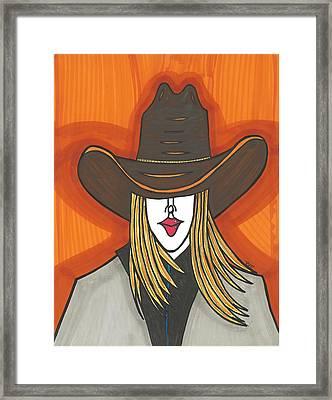 Blonde Cowgirl Framed Print