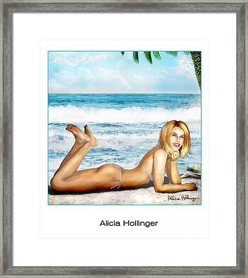 Blonde On Beach Framed Print
