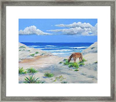 Blonde On The Beach Framed Print by Anne Marie Brown