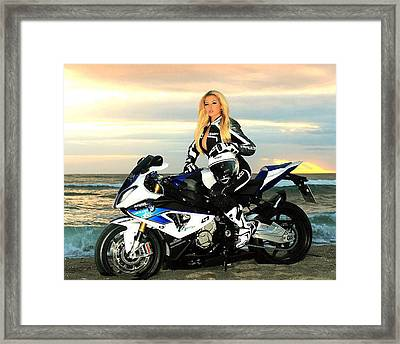 Blonde On The Beach Framed Print by Lawrence Christopher