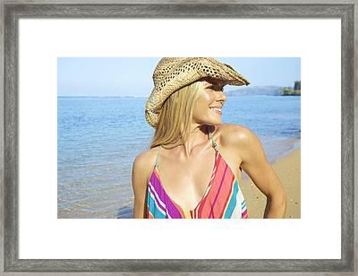 Blonde Woman In Hawaii Framed Print by Kicka Witte