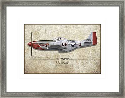 Blondie P-51d Mustang - Map Background Framed Print by Craig Tinder