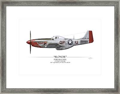 Blondie P-51d Mustang - White Background Framed Print by Craig Tinder