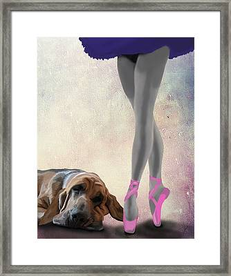 Blood Hound And Ballet Dancer Framed Print