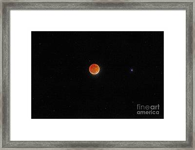 Framed Print featuring the photograph Blood Moon And Stars by Martin Konopacki