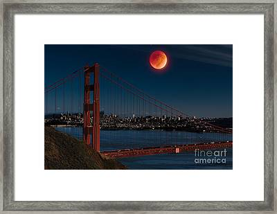 Blood Moon Over Golden Gate Bridge Framed Print by Dan Hartford