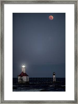 Blood Moon Over St Joe 2 Framed Print by John Crothers