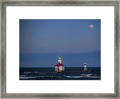 Blood Moon Over St Joe 3 Framed Print by John Crothers