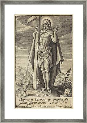 Blood Of Christ Flows Into Chalice, Hieronymus Wierix Framed Print by Hieronymus Wierix