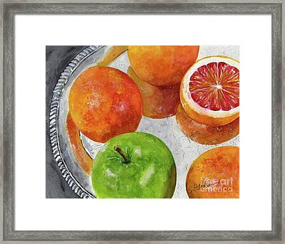 Blood Oranges On Silver Tray  Framed Print by Sheryl Heatherly Hawkins