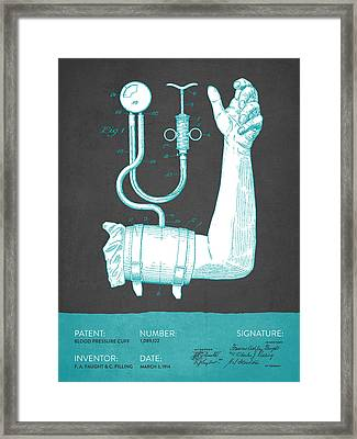 Blood Pressure Cuff Patent From 1914 - Gray Turquoise Framed Print by Aged Pixel