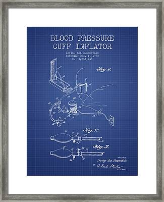 Blood Pressure Cuff Patent From 1970 - Blueprint Framed Print by Aged Pixel