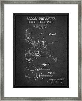 Blood Pressure Cuff Patent From 1970 - Dark Framed Print by Aged Pixel
