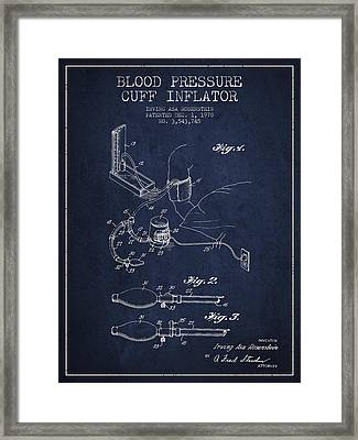 Blood Pressure Cuff Patent From 1970 - Navy Blue Framed Print by Aged Pixel