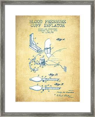 Blood Pressure Cuff Patent From 1970 - Vintage Paper Framed Print by Aged Pixel