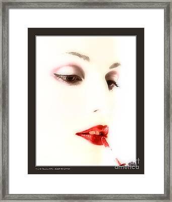 Blood Red Lipstick Framed Print