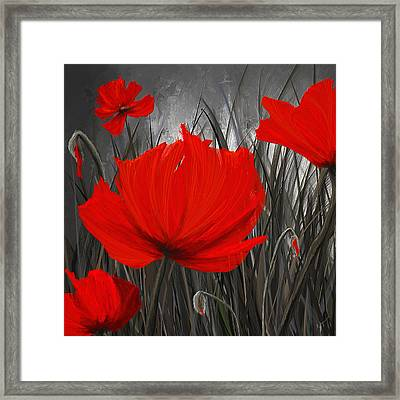 Blood-red Poppies - Red And Gray Art Framed Print by Lourry Legarde