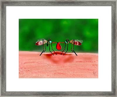Blood Sucker Love Framed Print by Mathieu Lalonde