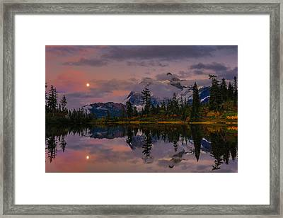 Bloodmoon Rise Over Picture Lake Framed Print