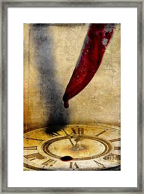 Bloody Knife Dripping On Clock Face Framed Print by Jill Battaglia
