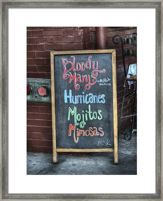 Bloody Marys Framed Print
