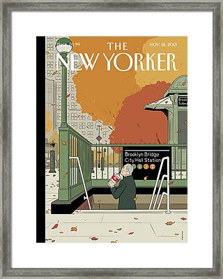 Bloomberg Drinks A Soda As He Prepares To Leave Framed Print by Adrian Tomine
