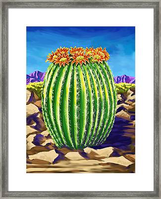 Framed Print featuring the painting Blooming Barrel Cactus by Tim Gilliland