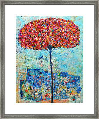 Blooming Beyond Known Skies - The Tree Of Life - Abstract Contemporary Original Oil Painting Framed Print