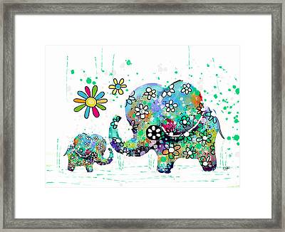 Blooming Elephants Framed Print by Karin Taylor