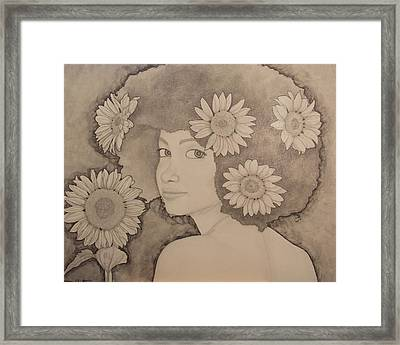 Blooming Girl Sunflower Refined Framed Print