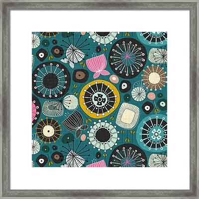 Blooms Teal Framed Print by Sharon Turner