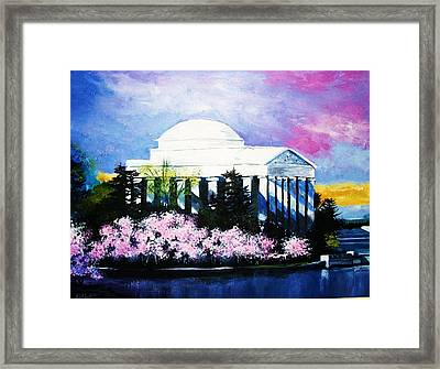 Blossoms At The Jefferson Memorial Framed Print by Al Brown